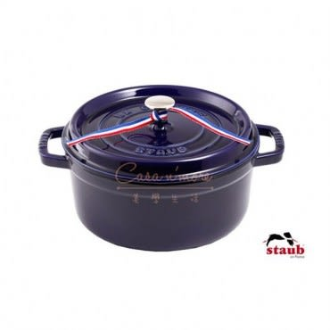 Staub 圓形琺瑯鑄鐵鍋 22cm 2.6L 深藍色 法國製