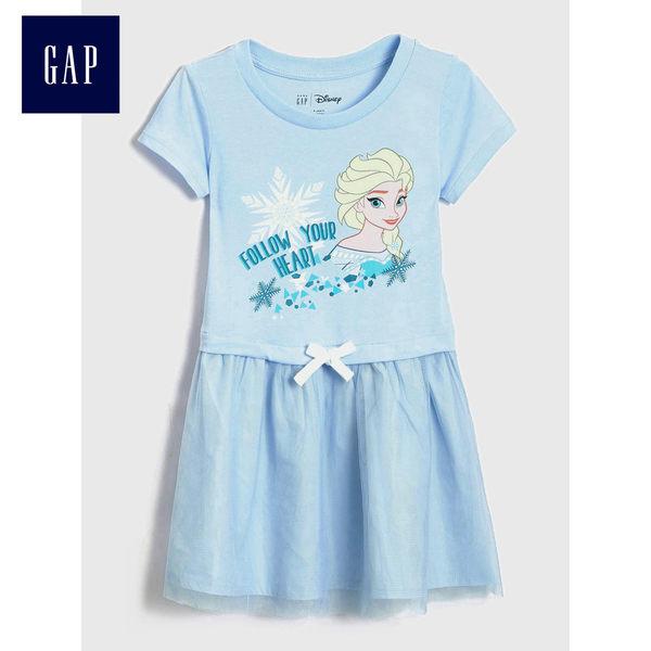 Gap x Disney女嬰幼童 冰雪女王主題印花兒童短袖洋裝 487360-淺石楠藍