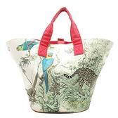 HERMES 愛馬仕 彩色赤道叢林動物印花布手提包(附拉鍊小袋) Equateur Beach Tote