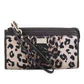 COACH 方牌LOGO豹紋織布大手掛式長夾 手機包 (咖啡色)-49605