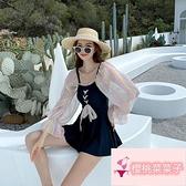 韓版連體長袖裙式保守連身泳衣女遮肚顯瘦溫泉泡澡服【櫻桃菜菜子】