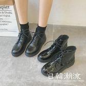 馬丁靴 英倫鞋  2019春季新款黑色機車馬丁靴女英倫風系帶漆皮粗跟短靴高幫女靴子