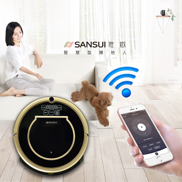 【SANSUI山水】Wifi無線智慧掃地機器人SC-A3(黑配金色)