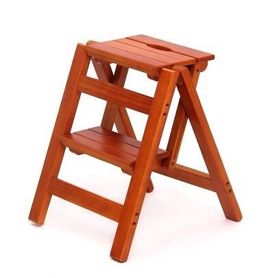 實木家用多功能折疊梯架創意樓梯椅梯凳室內多用單只價【二層折疊梯淺胡桃色】
