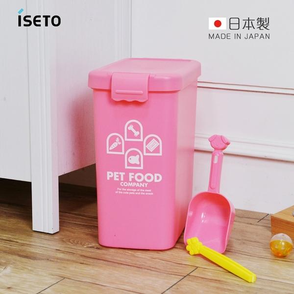 【日本ISETO】日製粉彩寵物飼料密封收納桶(附夾勺)-13L