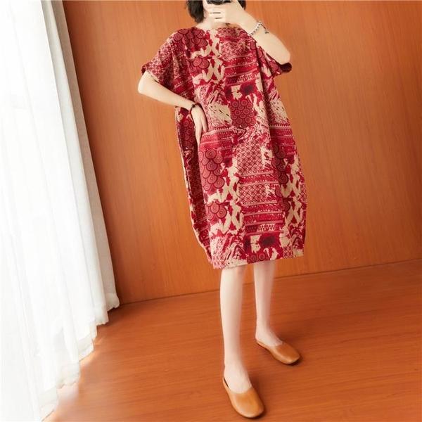 依多多 棉麻復古文藝民族風連身裙 1色(均碼)
