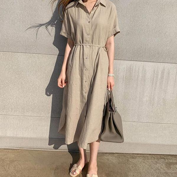 襯衫洋裝 韓版繫帶收腰亞麻襯衫裙女夏長款簡約寬鬆顯瘦polo領短袖連衣裙 - 風尚3C