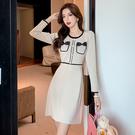 VK精品服飾 韓國風名媛長版針織單排釦修身優雅長袖洋裝