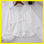 1085#V領蕾絲拼接抽繩系帶收腰荷葉邊短款襯衫女垂感上衣