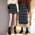格子半身裙女春秋季2021新款時尚短裙A字長裙學生高腰設計感裙子【勇敢者】