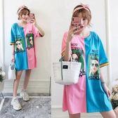 促銷價不退換中大尺碼2705#新款女裝胖mm印花拼色T恤連衣裙200斤(R032)胖胖唯依