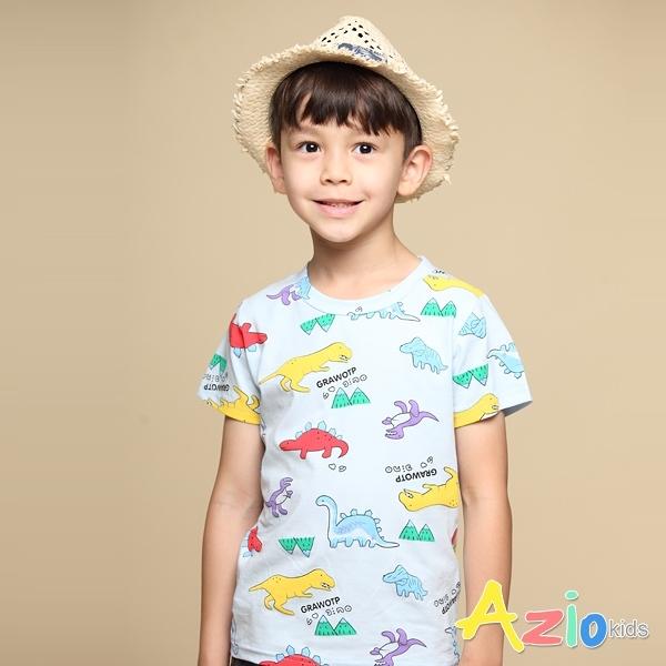 Azio 男童 上衣 滿版彩色恐龍小山印花短袖上衣T恤(藍) Azio Kids 美國派 童裝