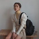 V領蕾絲上衣 V領泡泡袖蕾絲摟空長袖上衣 艾爾莎 【TGK7434】