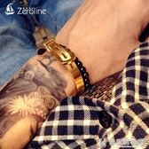 手鍊/手環歐美時尚創意馬蹄扣手鐲金銀色皮帶扣個性潮男女鈦鋼手鐲手飾 快意購物網