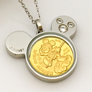迪士尼系列金飾-黃金金幣項鍊-米奇造型孫悟空-C