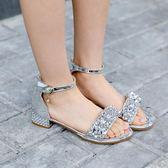 女童涼鞋新款韓版夏季涼鞋童鞋時尚亮片公主沙灘鞋中大童 一米陽光