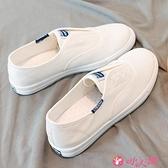 小白鞋 一腳蹬帆布小白鞋2021新款女百搭秋季透氣學生韓版懶人休閒薄底鞋 小天使