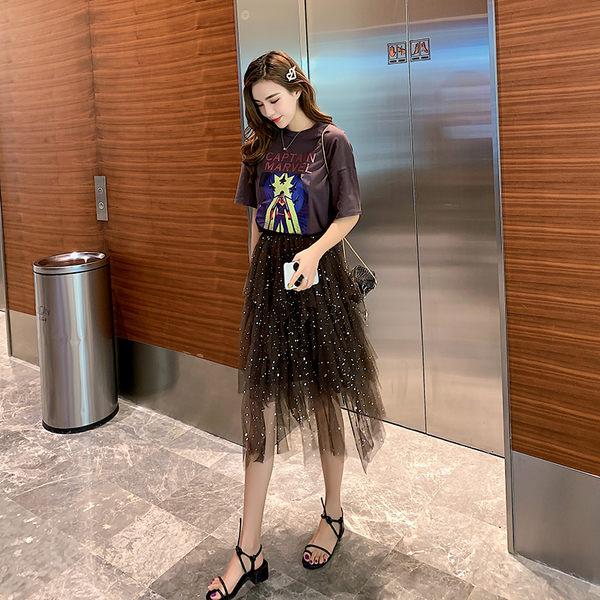 VK旗艦店 韓國學院風字母T恤閃亮網紗裙套裝短袖裙裝