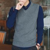 秋季毛衣背心男士韓版修身V領無袖坎肩男馬甲純棉毛線針織衫背心