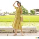 《DA8638-》純色蕾絲蝴蝶結綁帶收腰長洋裝 OB嚴選
