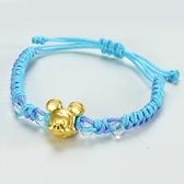 迪士尼系列金飾-編織黃金手鍊-米奇款(藍)