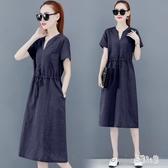 棉麻洋裝 2019新款韓版短袖純色中長款襯衫裙大碼v領連身裙 YN636『易購3C館』