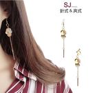 素簡手作《L180》韓國耳環不對稱垂墜耳環耳夾