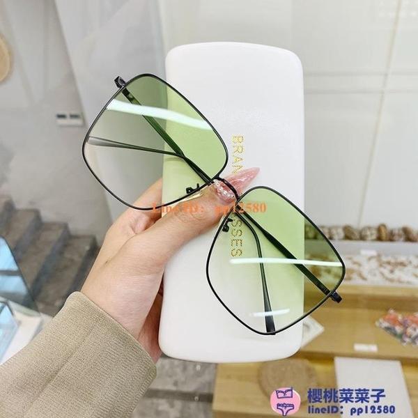 墨鏡女大框超大金屬框潮時尚綠色太陽鏡男華晨宇同款眼鏡方框【櫻桃菜菜子】