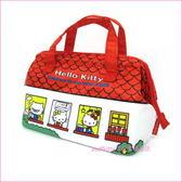 asdfkitty可愛家☆KITTY紅色房屋寬口拉鍊輕量保溫便當袋/手提袋/購物袋-也可保冷-日本正版商品