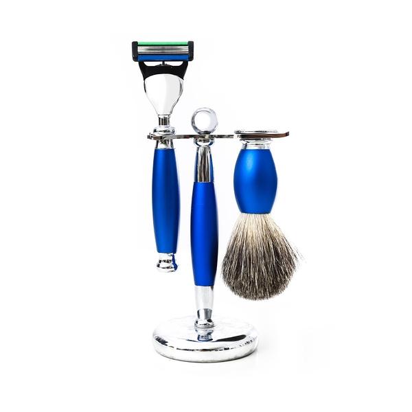 五刀式 刮鬍刀豪華禮盒四件組 - 時尚藍 生日禮物 情人節禮物 聖誕節禮物