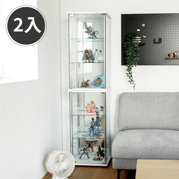 公仔模型 展示櫃 收納櫃 玻璃櫃【V0034-A】津澤直立式鏡面展示櫃85cm2入 (兩色) MIT台灣製 完美主義