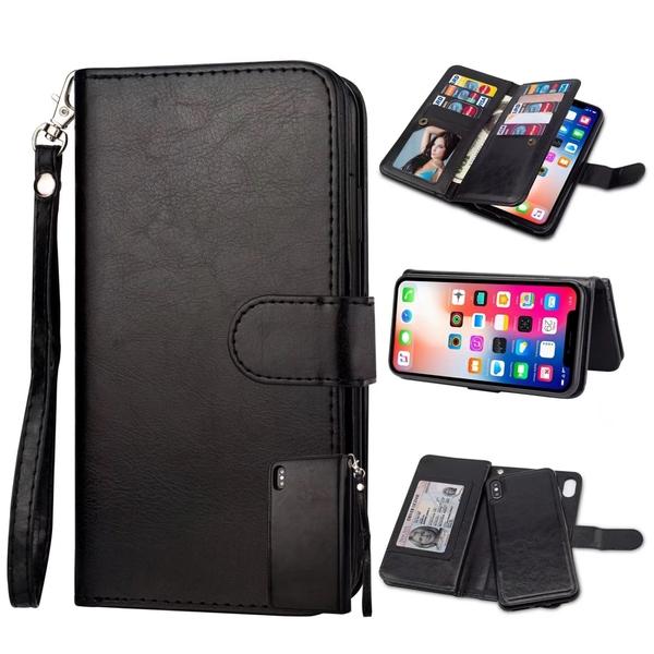 【SZ13】9卡二合一分体皮套帶透明卡袋 iPhone Xs手機殼 iPhone XR iPhone XS Max手機殼