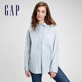Gap女裝 通勤休閒長袖襯衫 660904-藍色細條紋