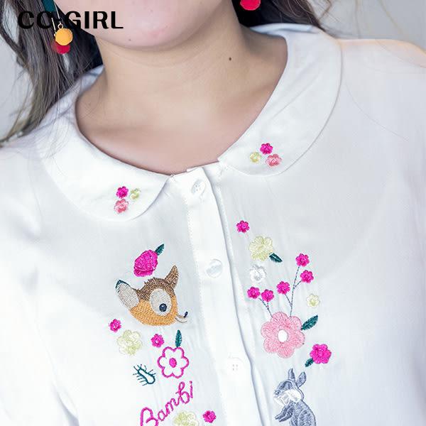 中大尺碼 甜美碎花小鹿刺繡襯衫上衣 - 適XL~4L《 65077F 》CC-GIRL