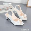 韓范時尚百搭蝴蝶結細跟高跟鞋女式外穿中跟后空魚嘴涼鞋大碼女鞋 快速出貨