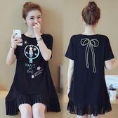 長版上衣 加大碼女裝夏裝短袖打底衫中長款胖mm顯瘦印花大版上衣LJ8559『科炫3C』
