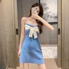 VK精品服飾 韓國風氣質蝴蝶結針織性感顯瘦包臀短裙無袖洋裝