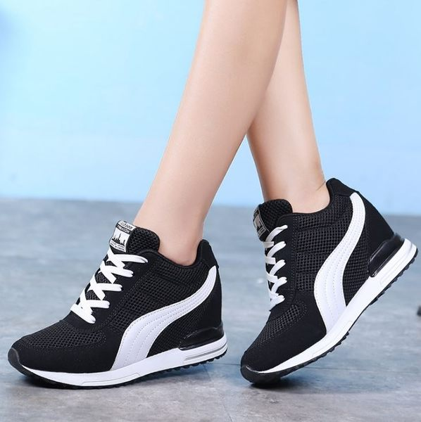Dingle丁果ღ小心機隱形內增高鞋流線網面休閒鞋*3色
