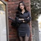 OL洋裝 秋裝條紋長袖襯衫職業氣質包臀短裙兩件套裝裙白領女裝  店慶降價