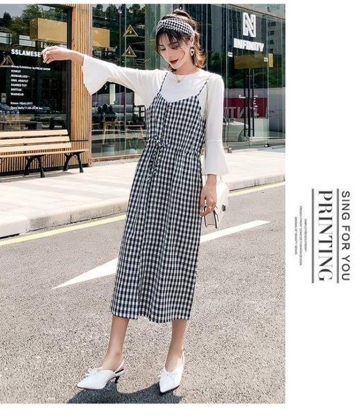 漂亮小媽咪 吊帶裙【D3691】 兩件式洋裝 喇叭袖 格紋 背心裙 洋裝 孕婦裝 長裙