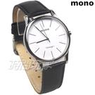 mono 簡約 高雅 設計美學 藍寶石水晶 真皮錶帶 小羊皮 男錶 黑色 5003B白釘大