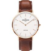 VALENTINO 范倫鐵諾 經典皮革手錶-36mm 71418B白面玫瑰金咖啡帶