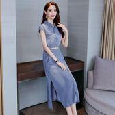 牛仔洋裝 女裝韓版牛仔開叉裙子中長款氣質polo顯瘦連身裙潮 迪奧安娜