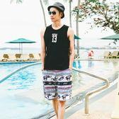 男夏季沙灘褲大碼寬鬆游泳褲大褲衩男短褲潮五分褲男度假海灘泳褲【販衣小築】