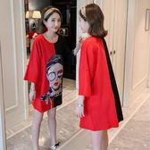 短袖洋裝 夏季新款韓版寬鬆拼色貼圖印花短袖T恤裙女裝大尺碼中長款半袖上衣