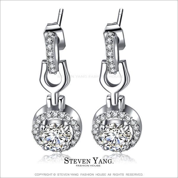 耳環STEVEN YANG正白K飾「時尚女王」耳針式 八心八箭 *一對價格*
