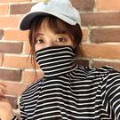(全館一件免運費)DE SHOP~(T-5775)寬鬆原宿風條紋高領長袖T恤