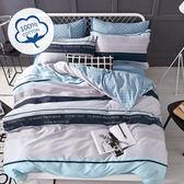 Artis台灣製 - 100%純棉 雙人床包+枕套二入+薄被套【海水藍寶】舒柔透氣