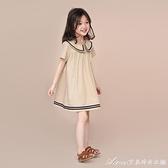 女童2021夏款洋氣洋裝/連身裙兒童韓版新款棉布裙中大潮童海軍風洋裝/連身裙 快速出貨
