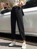 牛仔褲秋季2019新款韓版寬褲學生寬鬆高腰黑色長褲女裝直筒褲潮 米娜小鋪